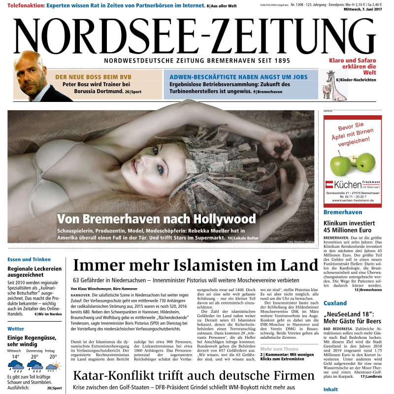 Nordsee-Zeitung Bremerhaven - Actress Rebekka Mueller - Page One